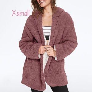 Pink Victoria secret Sherpa cardigan xs small